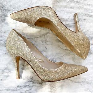 Nine West Gold Sparkle Pump Point Toe Heels